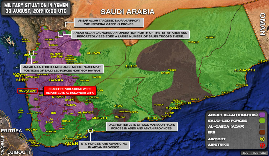 Military Situation In Yemen On August 30, 2019 (Map Update)
