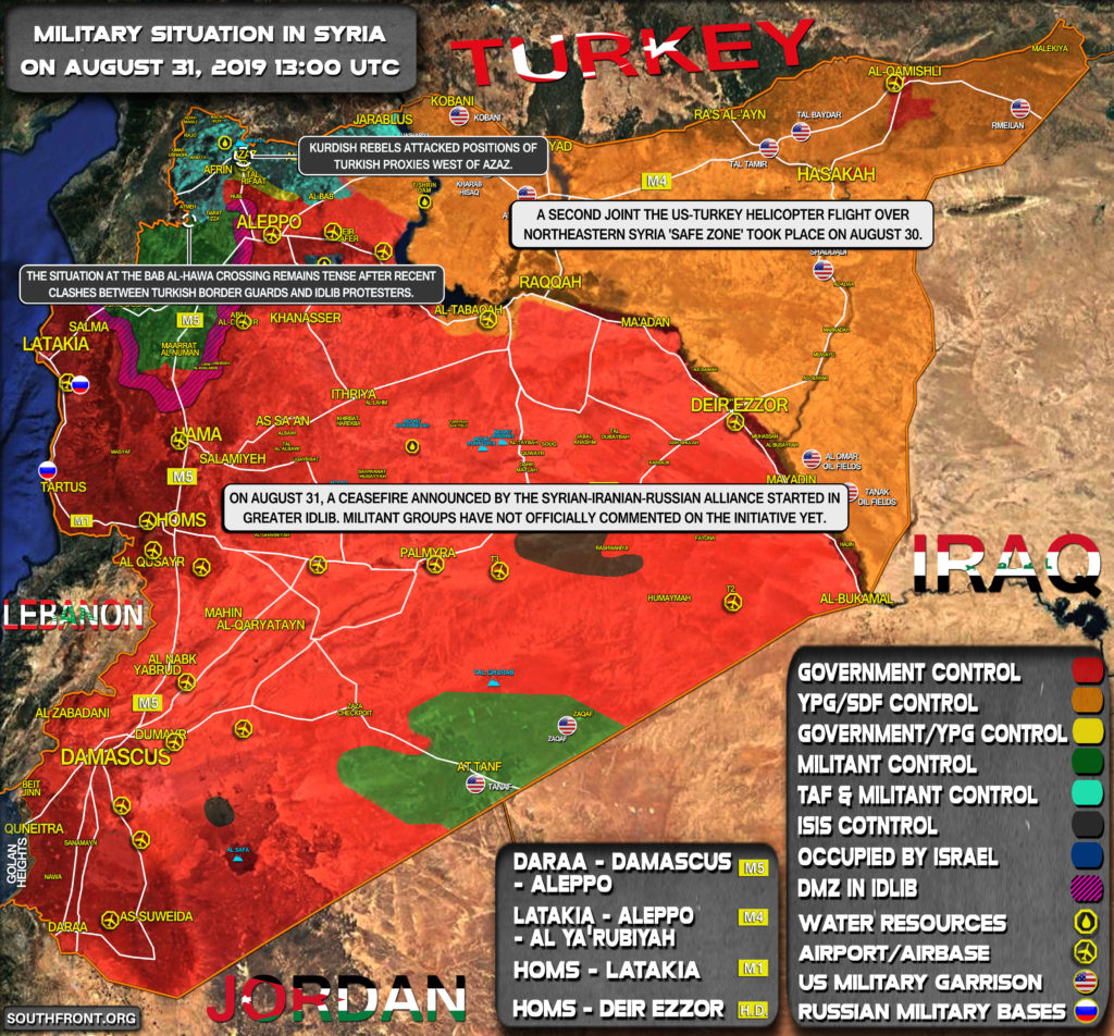 Military Situation In Syria On August 31, 2019 (Map Update)