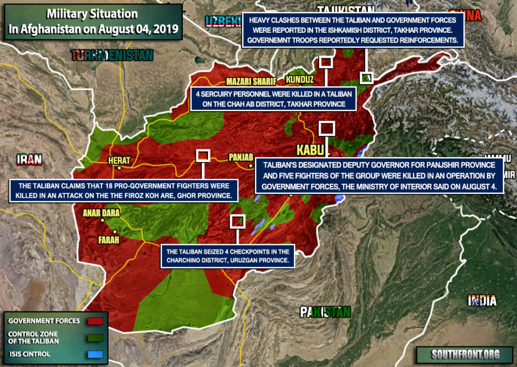 Military Situation In Afghanistan On August 4, 2019 (Map Update)