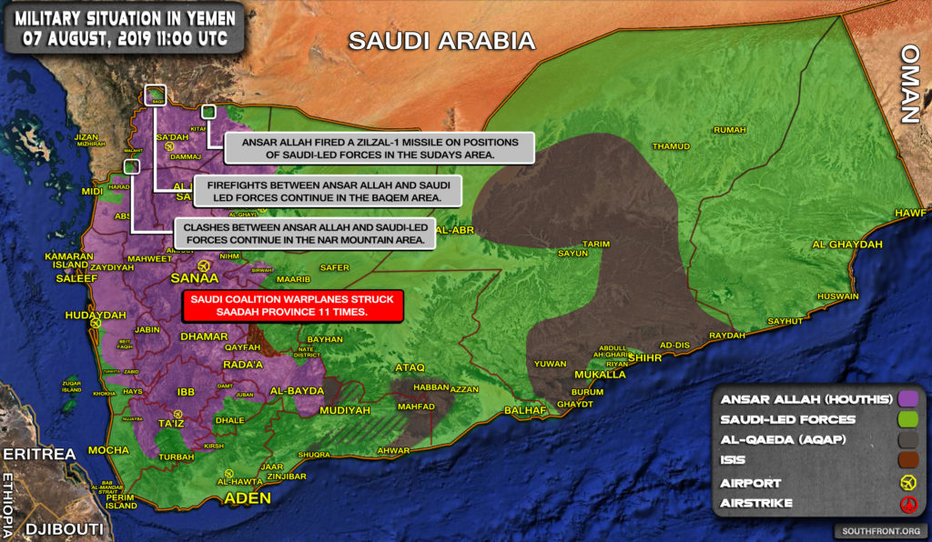 Military Situation In Yemen On August 7, 2019 (Map Update)