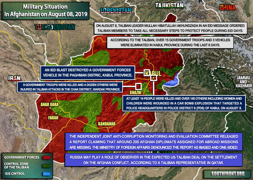 Military Situation In Afghanistan On August 8, 2019 (Map Update)