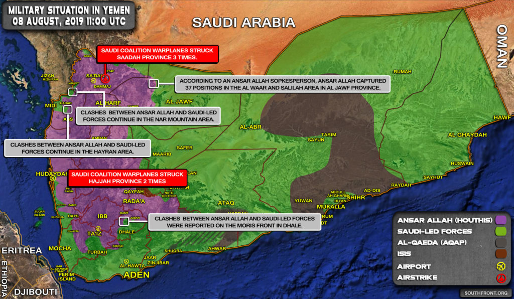 Military Situation In Yemen On August 8, 2019 (Map Update)