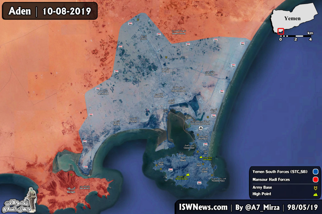 Forces Loyal To Saudi-backed 'Yemeni President' Lost Aden City To Southern Separatists (Maps)