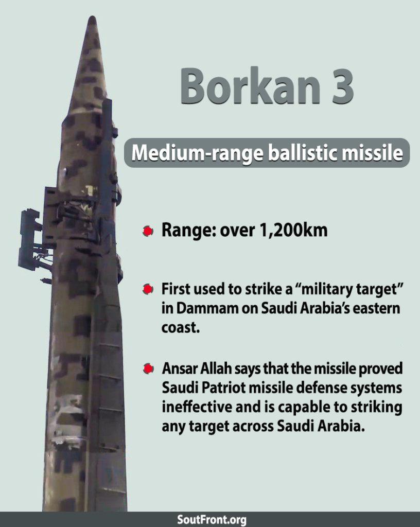 Ansar Allah's Borkan 3 Medium-Range Ballistic Missile (Infographics)