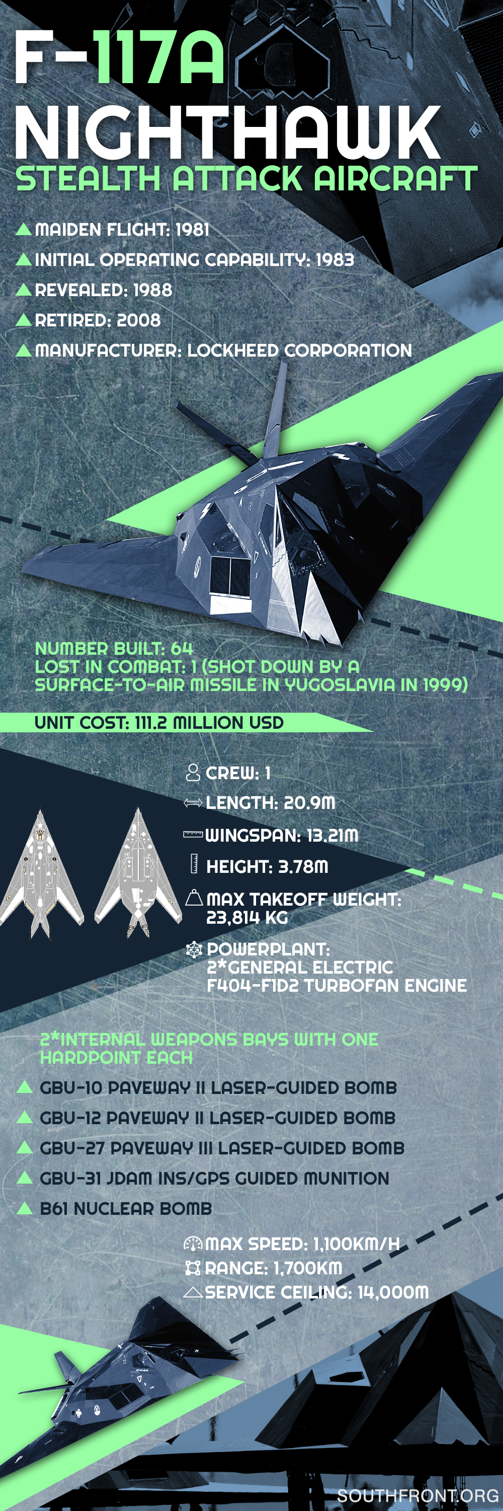 F-117A Nighthawk Stealth Attack Aircraft (Infographics)