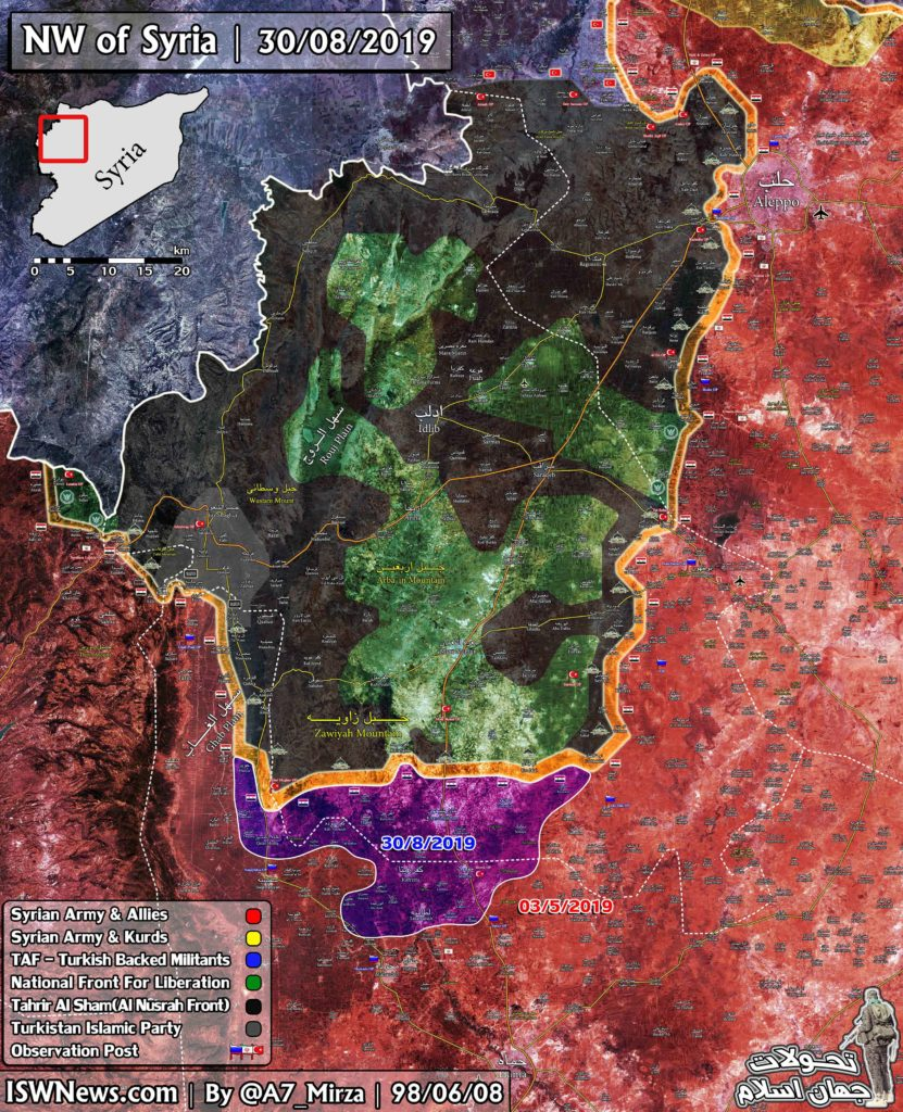 Map Update: Military Situation In Northwestern Syria Following First Phase Of Army Advance On Idlib