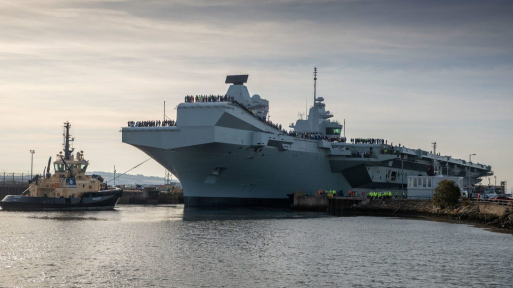 British Aicraft Carrier HMS Prince Of Wales Prepares For Sea Trials
