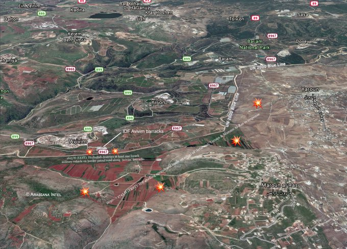 In Map: Israeli Strikes On At Contact Line With Lebanon