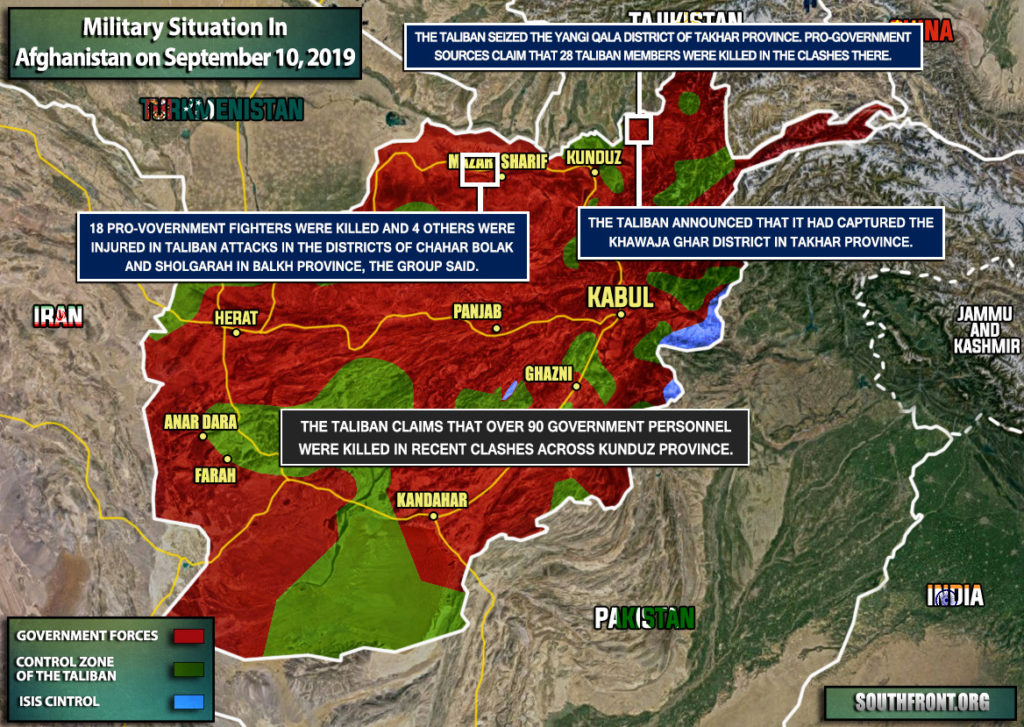Military Situation In Afghanistan On September 10, 2019 (Map Update)