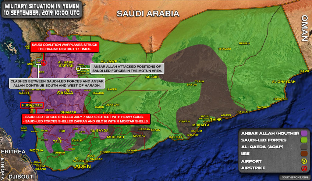 Military Situation In Yemen On September 10, 2019 (Map Update)