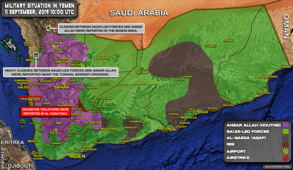 Military Situation In Yemen On September 11, 2019 (Map Update)