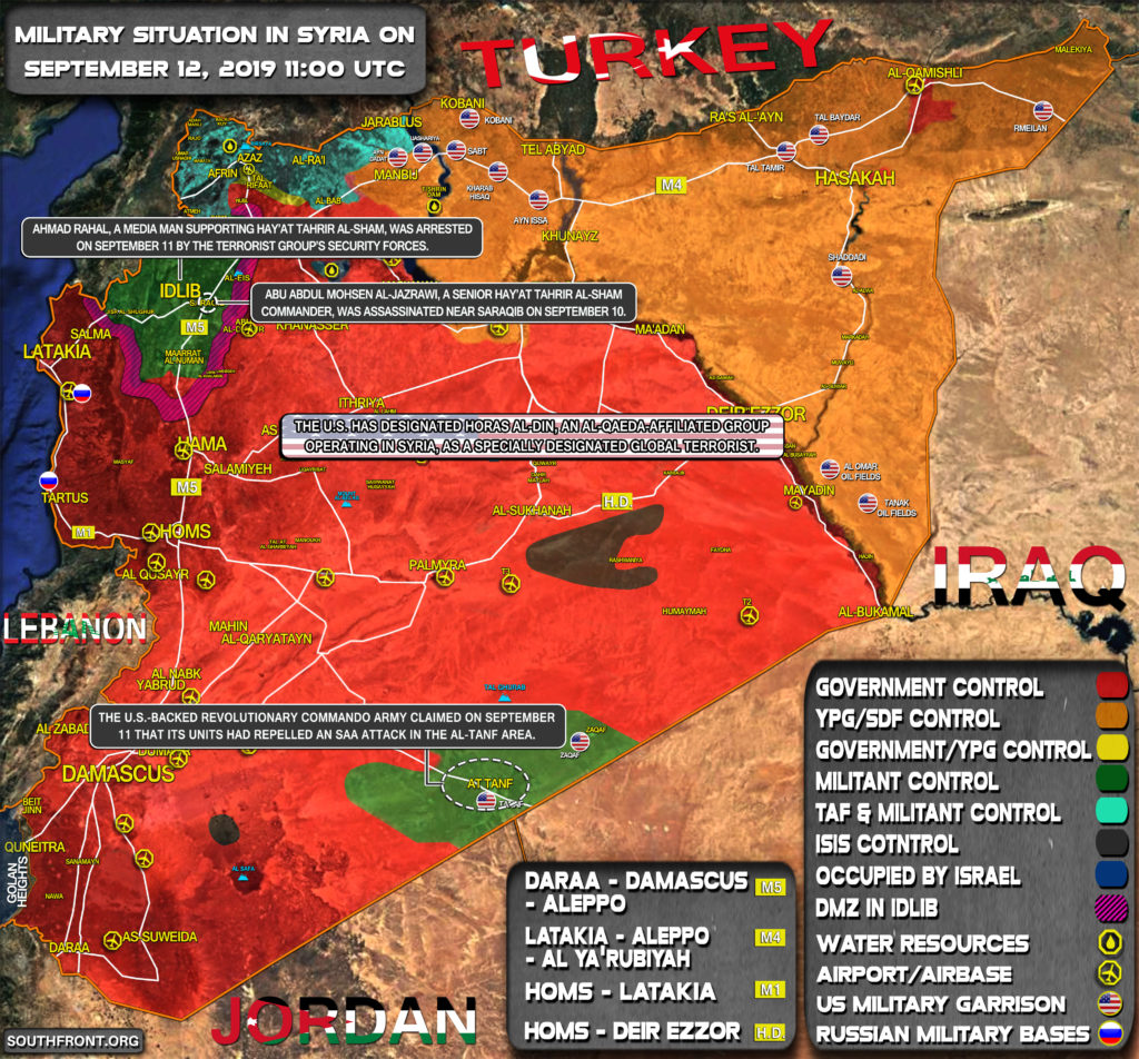 Military Situation In Syria On September 12, 2019 (Map Update)