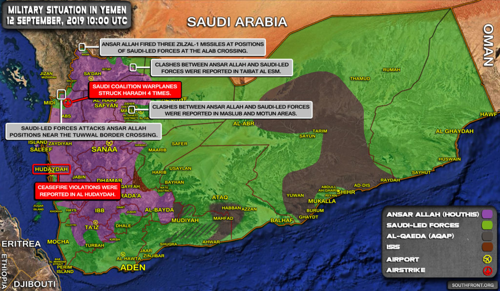 Military Situation In Yemen On September 12, 2019 (Map Update)