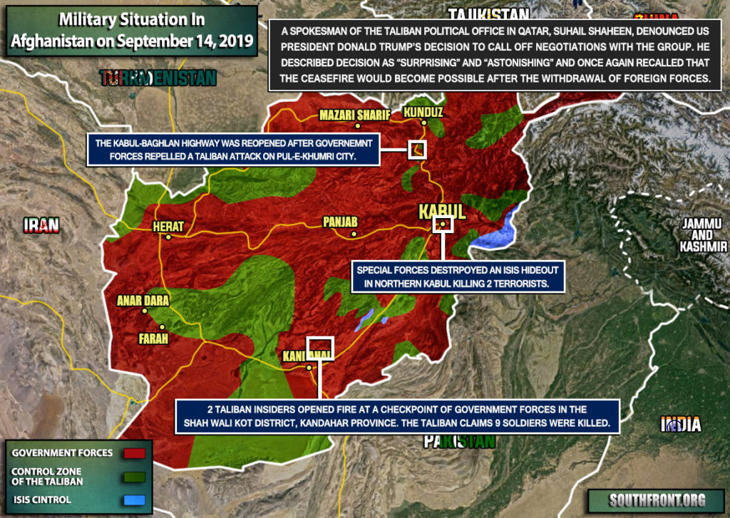 Military Situation In Afghanistan On September 14, 2019 (Map Update)