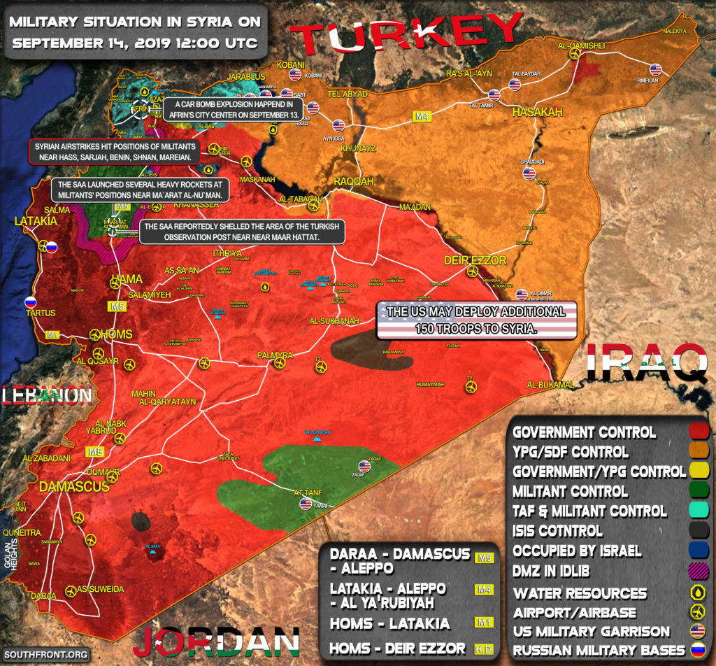 Military Situation In Syria On September 14, 2019 (Map Update)