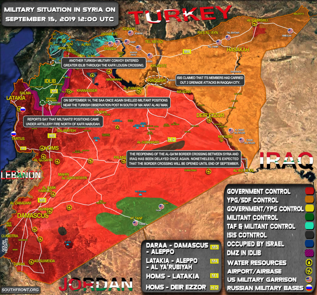Military Situation In Syria On September 15, 2019 (Map Update)