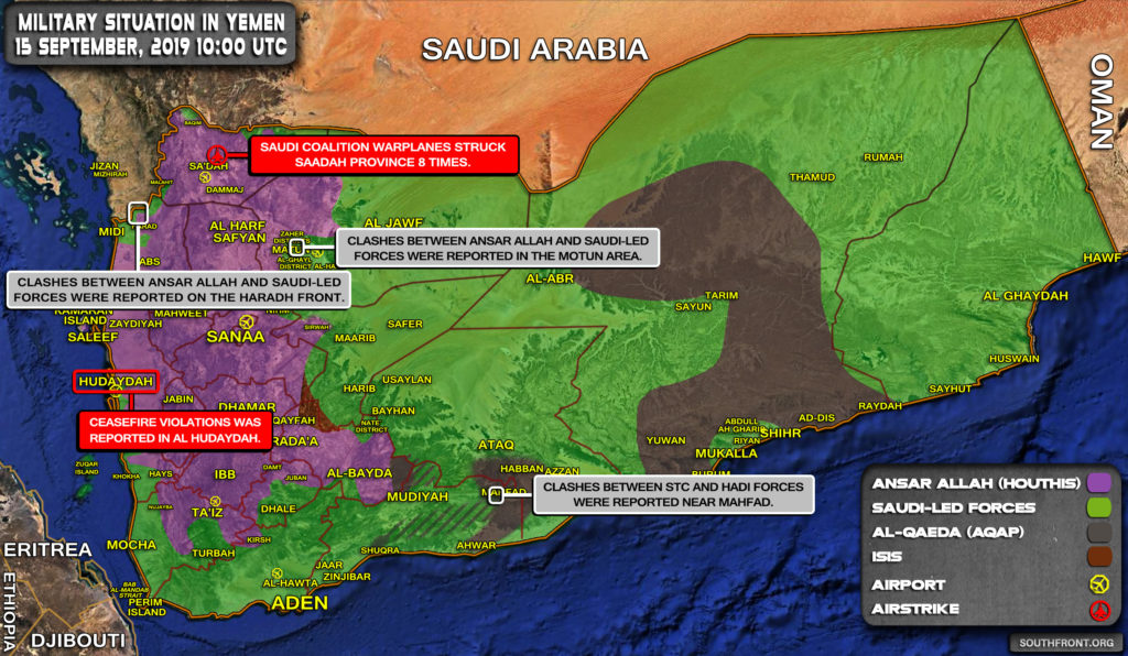 Military Situation In Yemen On September 15, 2019 (Map Update)