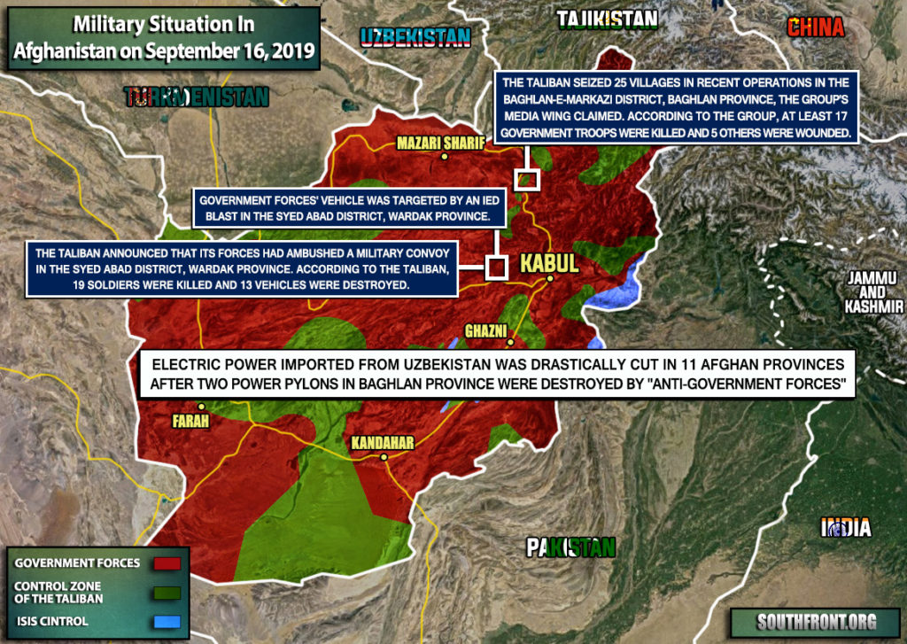 Military Situation In Afghanistan On September 16, 2019 (Map Update)