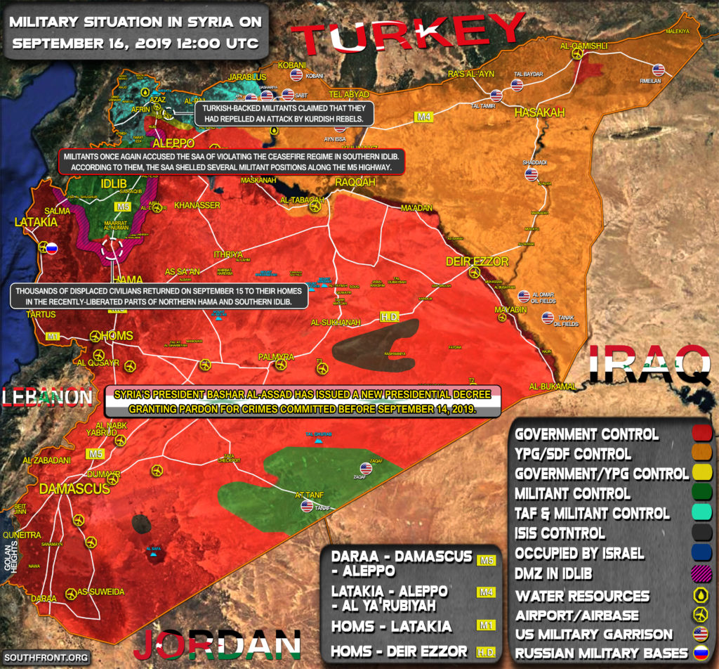 Military Situation In Syria On September 16, 2019 (Map Update)