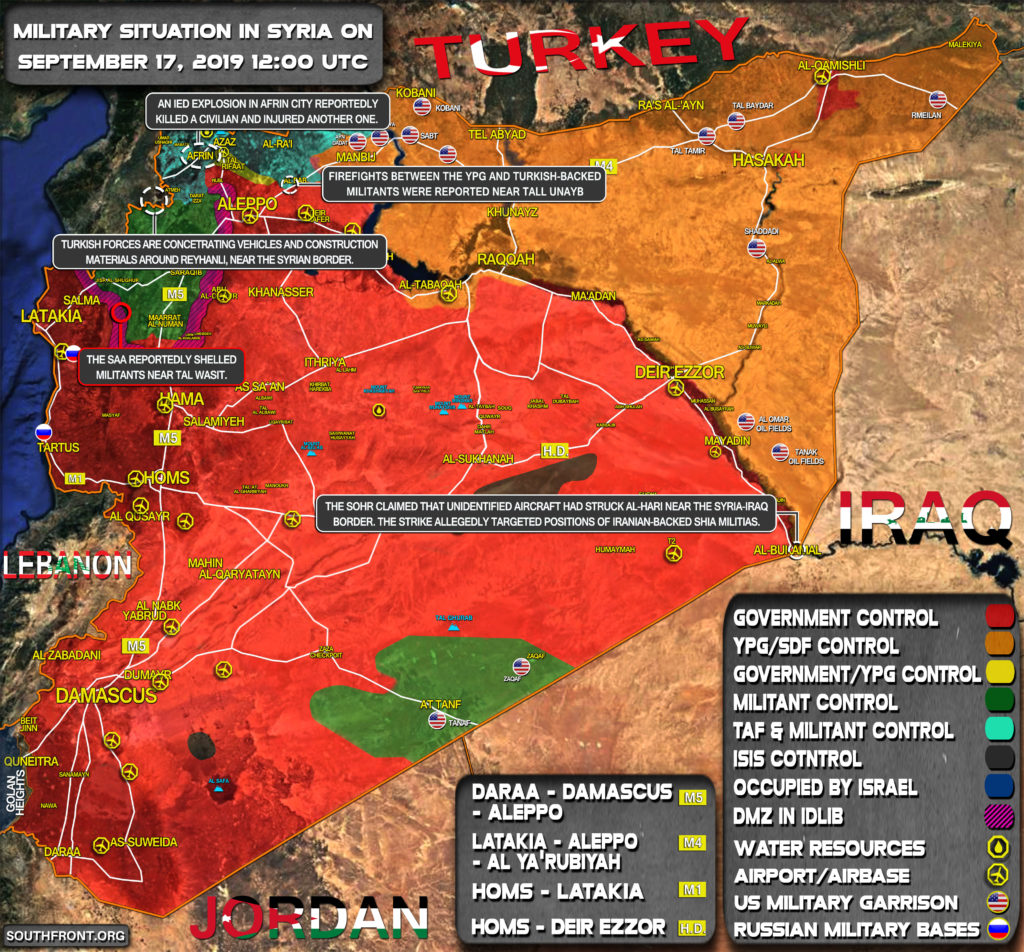 Military Situation In Syria On September 17, 2019 (Map Update)