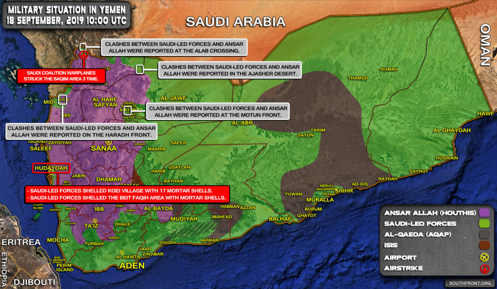 Military Situation In Yemen On September 18, 2019 (Map Update)