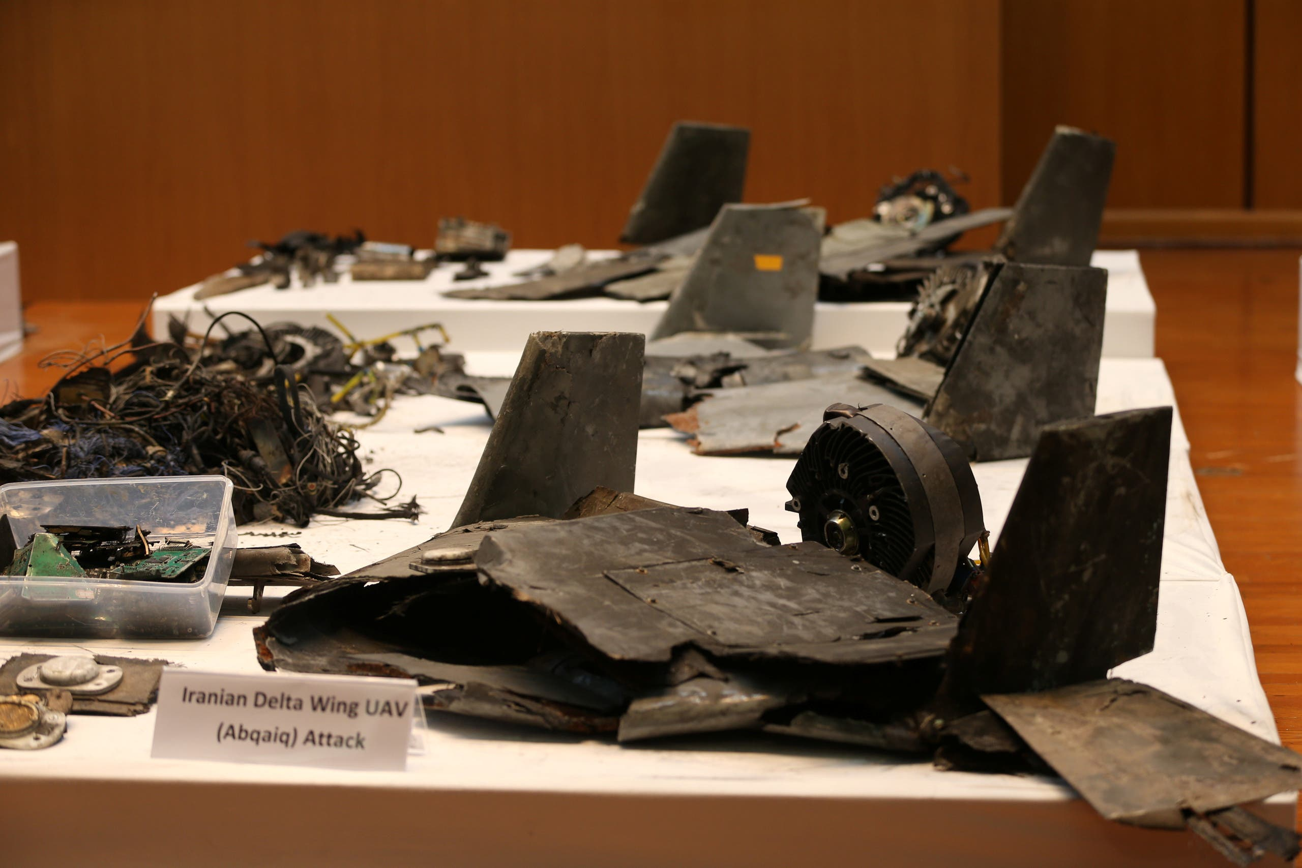 Saudi Arabia Showcases Wreckage Of Drones And Missiles Used In Abqaiq–Khurais Attack (Photos)
