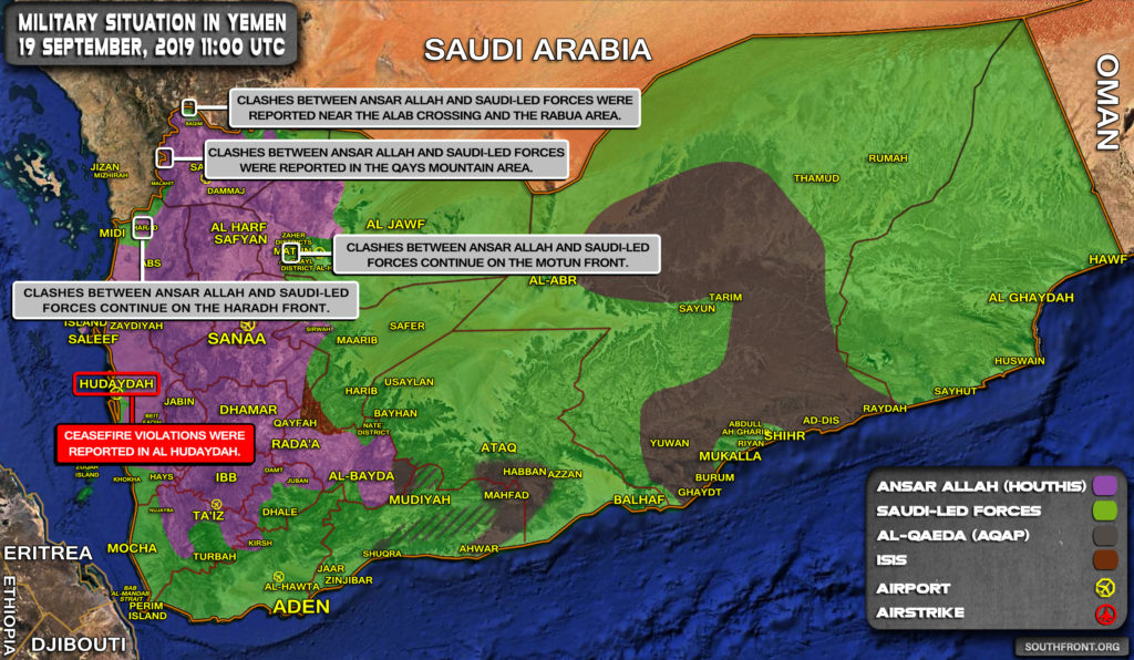 Military Situation In Yemen On September 19, 2019 (Map Update)