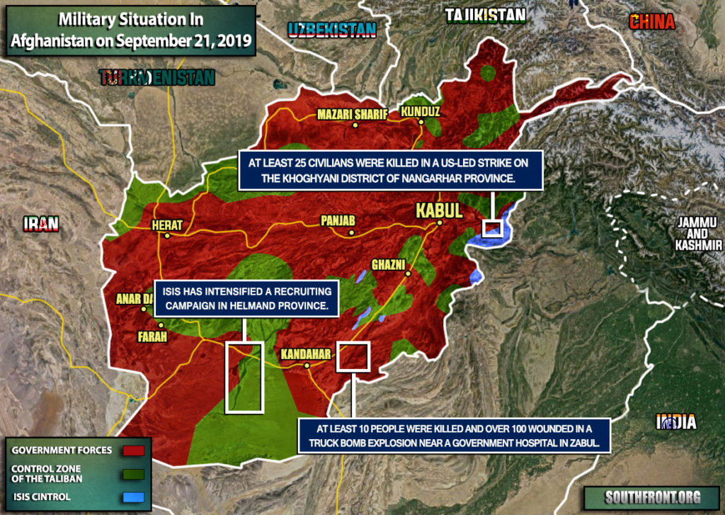 Military Situation In Afghanistan On September 21, 2019 (Map Update)