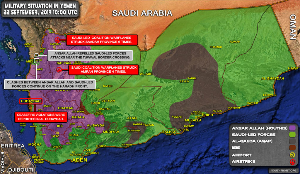 Military Situation In Yemen On September 22, 2019 (Map Update)
