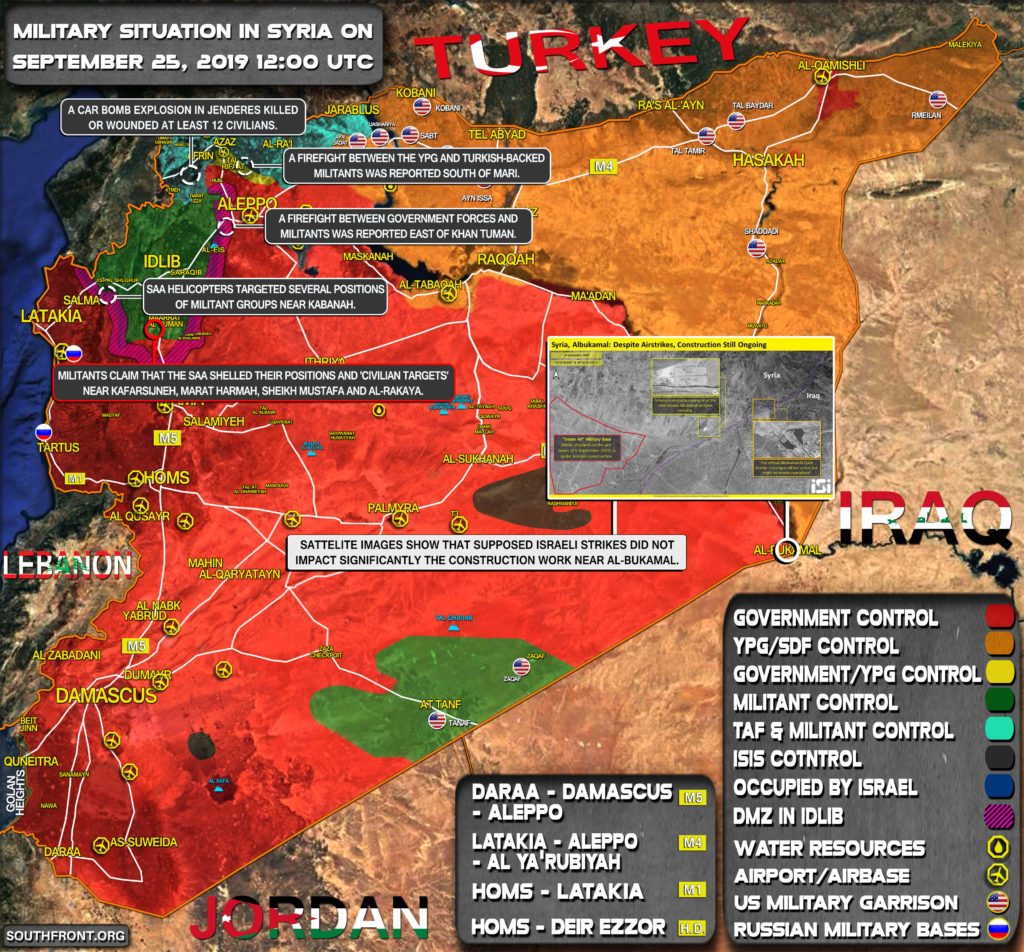 Military Situation In Syria On September 25, 2019 (Map Update)