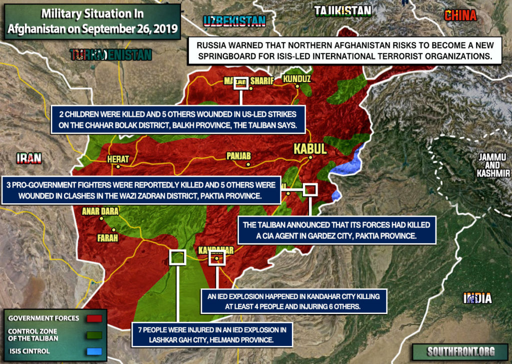 Military Situation In Afghanistan On September 26, 2019 (Map Update)