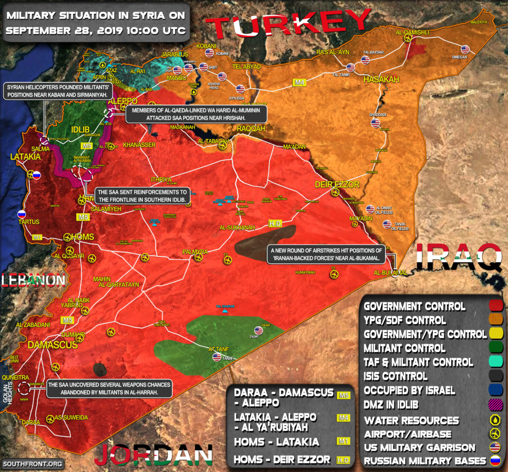 Military Situation In Syria On September 28, 2019 (Map Update)