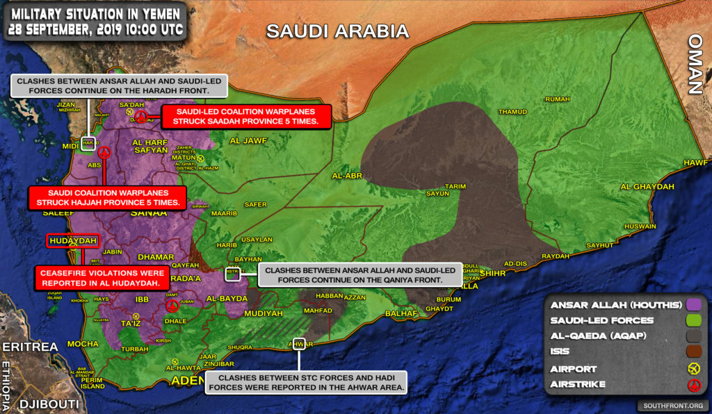 Military Situation In Yemen On September 28, 2019 (Map Update)