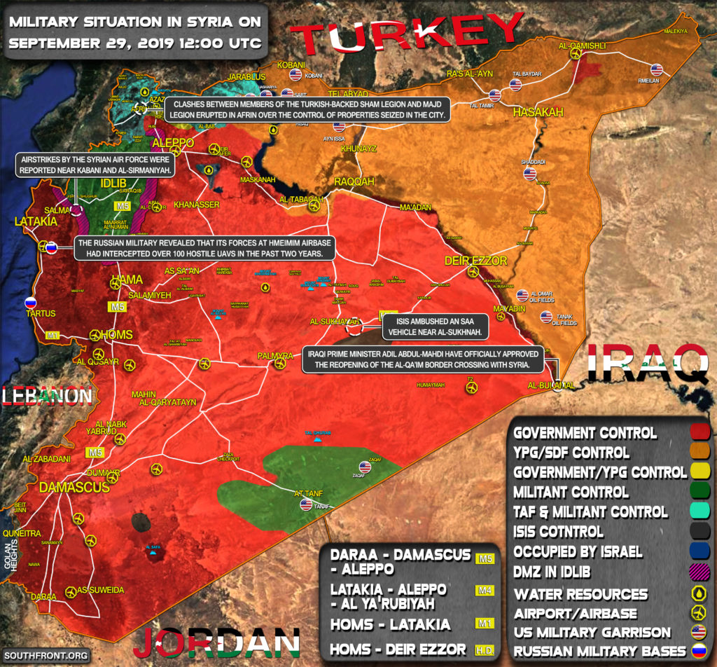 Military Situation In Syria On September 29, 2019 (Map Update)