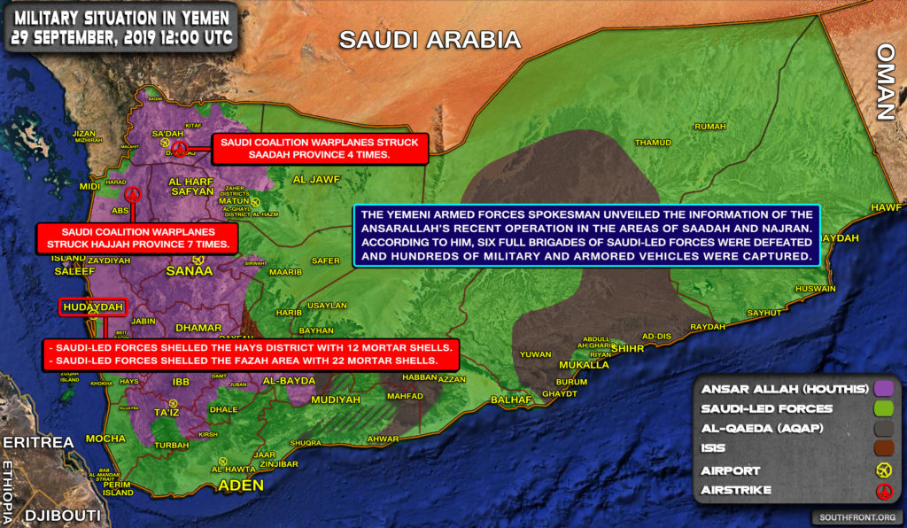 Military Situation In Yemen On September 29, 2019 (Map Update)