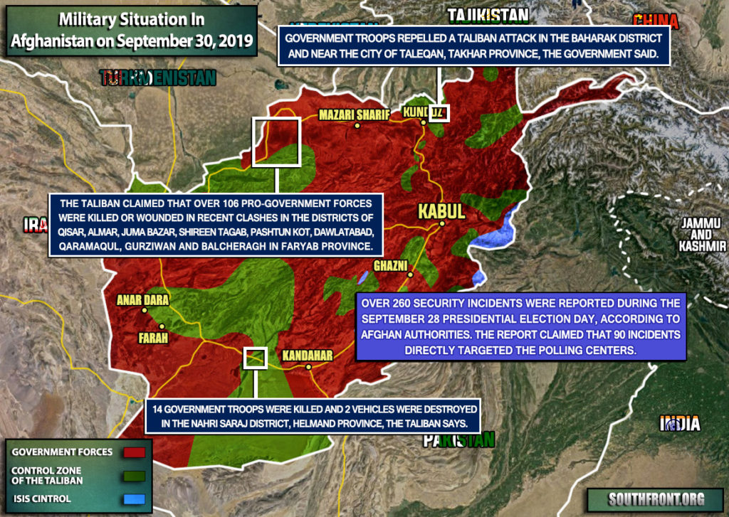 Military Situation In Afghanistan On September 30, 2019 (Map Update)