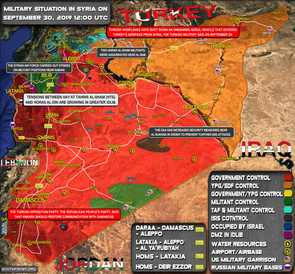 Military Situation In Syria On September 30, 2019 (Map Update)