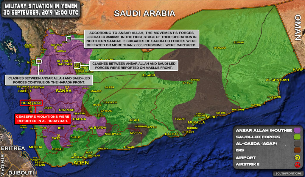 Military Situation In Yemen On September 30, 2019 (Map Update)