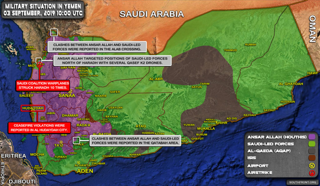 Military Situation In Yemen On September 3, 2019 (Map Update)