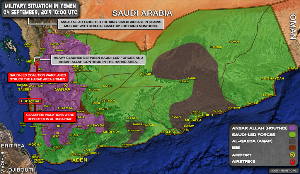 Military Situation In Yemen On September 4, 2019 (Map Update)
