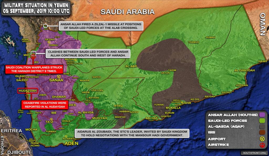 Military Situation In Yemen On September 5, 2019 (Map Update)