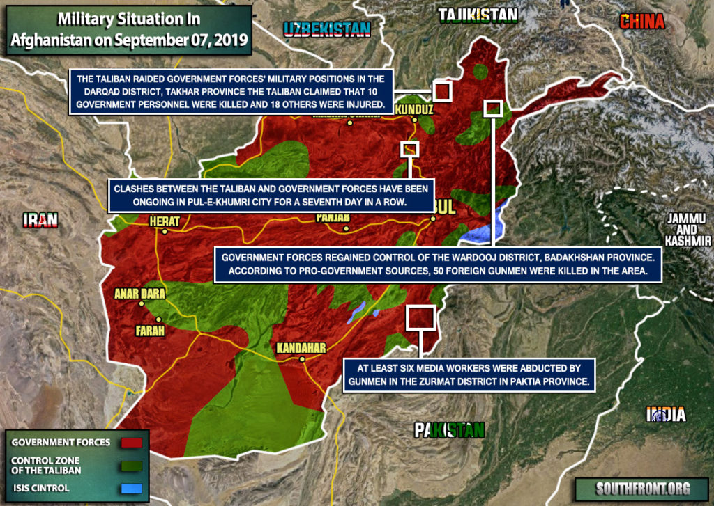Military Situation In Afghanistan On September 7, 2019 (Map Update)