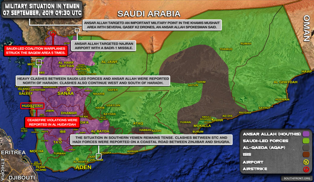Military Situation In Yemen On September 7, 2019 (Map Update)