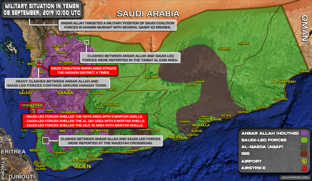 Military Situation In Yemen On September 8, 2019 (Map Update)
