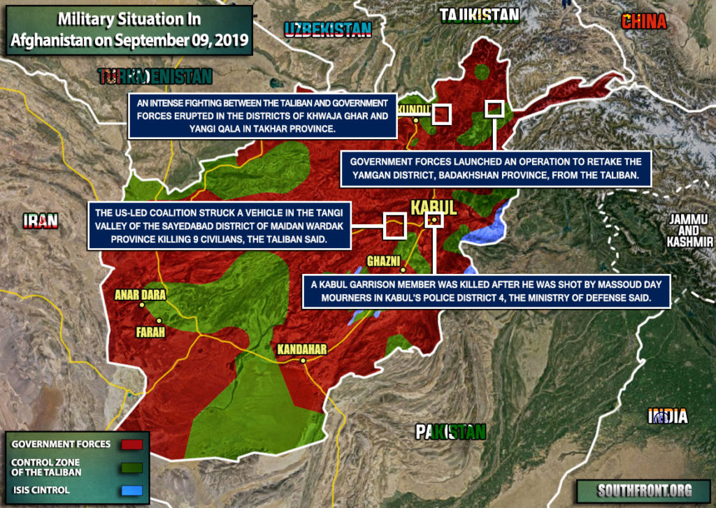 Military Situation In Afghanistan On September 9, 2019 (Map Update)