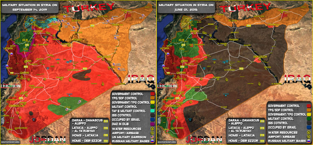 Map Comparison: Military Situation In Syria In June 2015 And September 2019