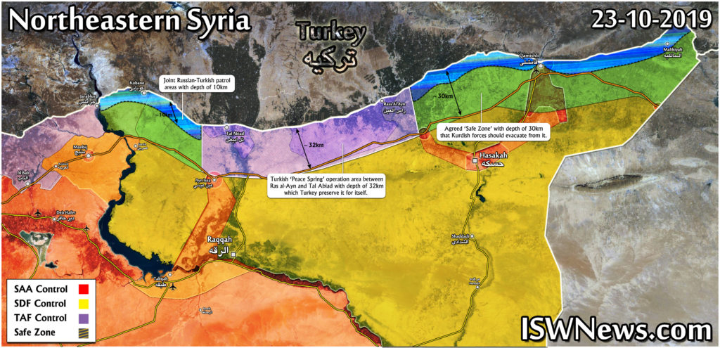 Map: Russia-Turkish Safe Zone Agreement On Northeastern Syria