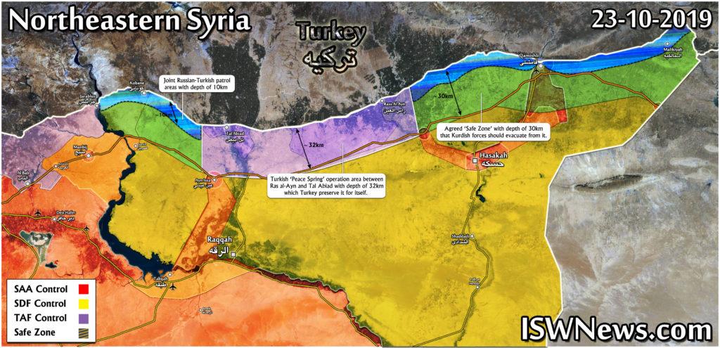 Map: Russia-Turkish Safe Zone Agreement On Northeastern Syria