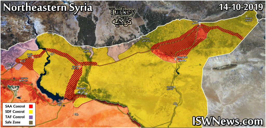 Map Update: Areas Of Deployment Of Syrian Army In Northeastern Syria