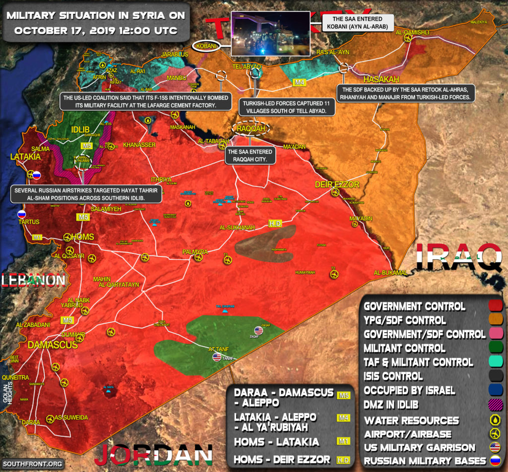 Military Situation In Syria On October 17, 2019 (Map Update)